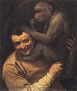 Annibale Carracci Portrait of a Young Man with a Monkey oil